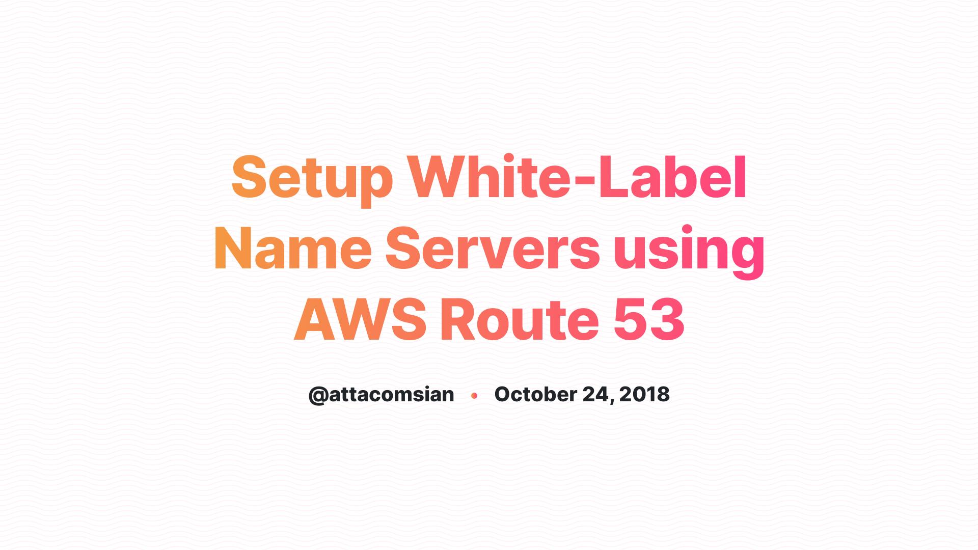 Setup White-Label Name Servers using AWS Route 53