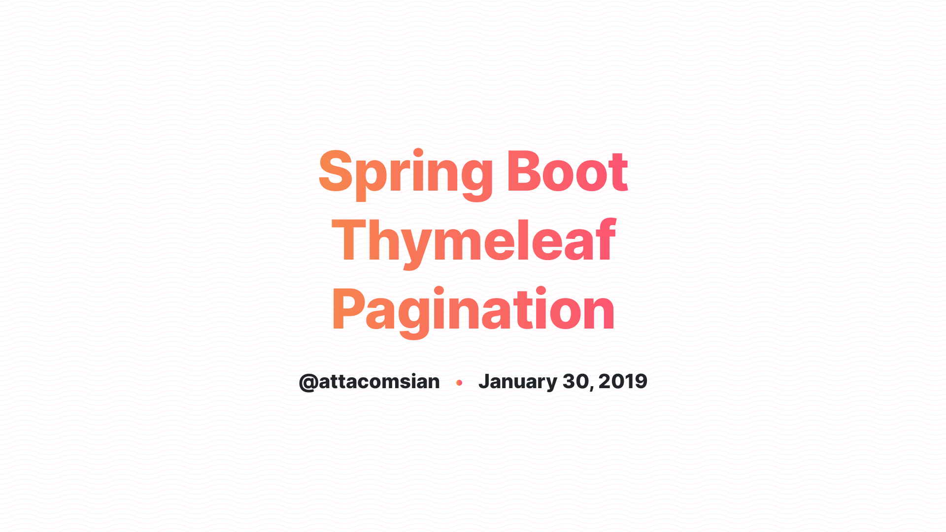 Spring Boot Thymeleaf Pagination